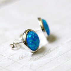 Opal Jewelry Set,Blue Opal Earrings,Opal Pendant,Gemstone Earrings,Stud Earrings,925 Sterling Silver,Opal Stud,Tiny Stud,opal stud