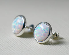 Opal Jewelry Set,White Opal Earrings,Opal Pendant,Gemstone Earrings,Stud Earrings,925 Sterling Silver,Opal Stud,Tiny Stud,opal stud