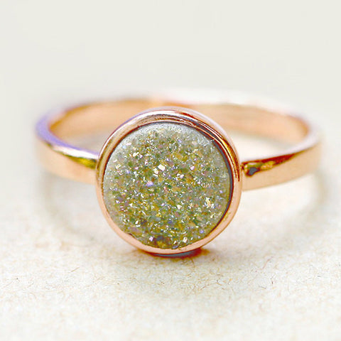 Champagne,Quartz Ring,Druzy Ring,Rose Gold,Agate Ring,Geode Ring,Gold Ring,Gemstone,Stacking ring,Delicate ring,Drusy ring,Stone ring,silver