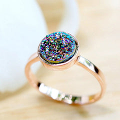 Peacock Ring,Rose Gold Ring,Druzy Ring,Quartz Ring,Agate Ring,Geode Ring,Delicate Ring,Gemstone,Stacking ring,Drusy Ring,Stone Ring,Delicate