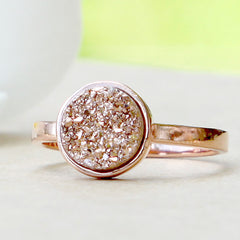 Rose Gold,Quartz Ring,Druzy Ring,Rose Gold,Agate Ring,Geode Ring,Gold Ring,Stacking ring,Delicate ring,Drusy ring,Mother ring,silv