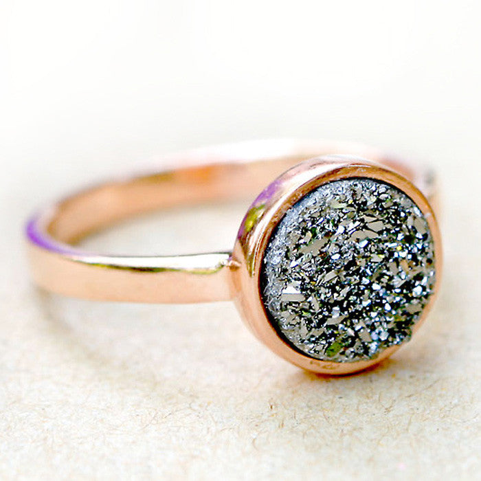 Adjustable Gold Ring Gray Stone Ring Raw Stone Ring Unique Druzy Ring Natural Druzy Ring Christmas Gift For Her D8-103
