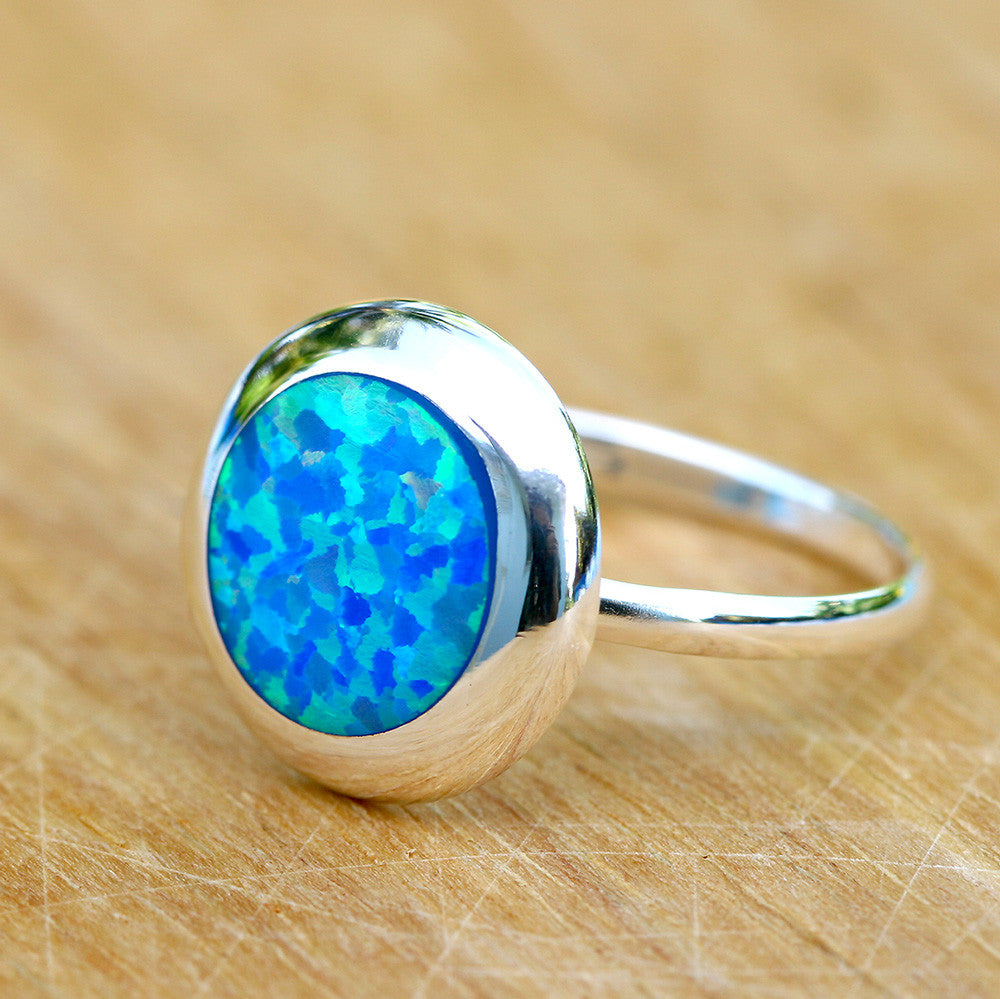 Blue Opal Ring,Geode ring,October Birthstone,Birthstone ring,gemstone ring,Agate ring,Unisex Ring,Father day,For him,Summer gifts,Opal,Trending