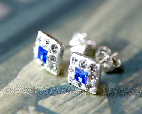 Blue stud earrings,Bridal jewelry,Bridesmaid earrings,Wedding earrings,Wedding jewelry,Square crystal rhinestone sterling,silver stud,Swarovski Earrings,Silver