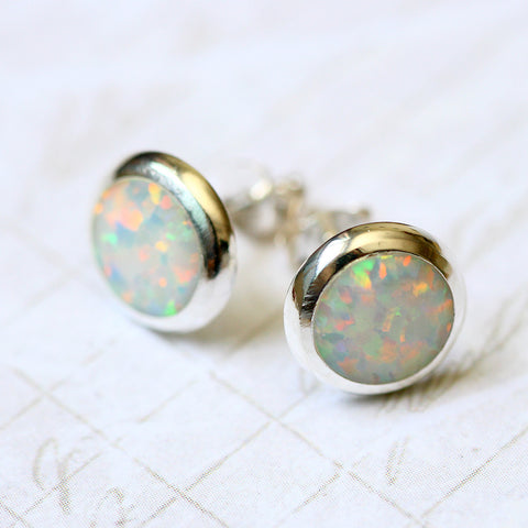 White Opal Earrings,Geode Earrings,Gemstone Earrings,Stud Earrings,925 Sterling Silver,Opal Stud,Tiny Stud,opal stud