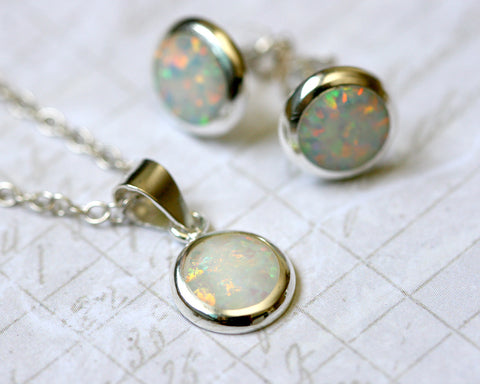 White Opal Jewelry Set,Round opal Earrings,Opal Pendant,Gemstone Earrings,Stud Earrings,925 Sterling Silver,Opal Stud,Tiny Stud,opal stud