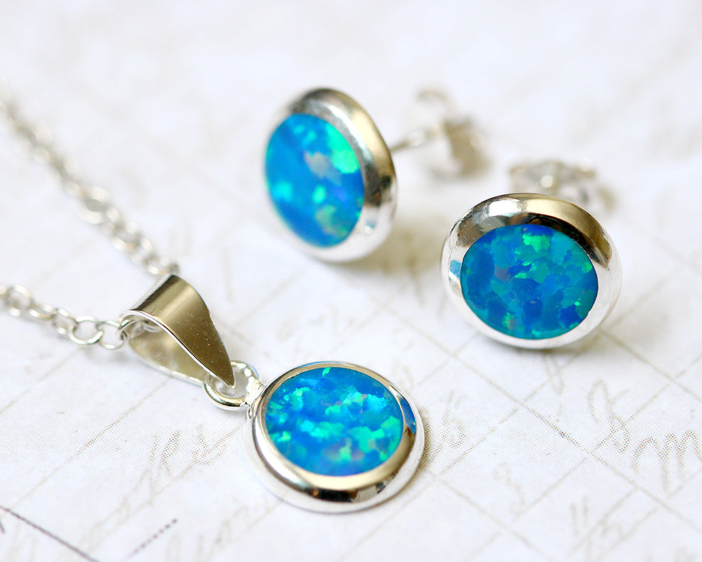 Blue Opal Jewelry Set,Round opal Earrings,Opal Pendant,Gemstone Earrings,Stud Earrings,925 Sterling Silver,Opal Stud,Tiny Stud,opal stud