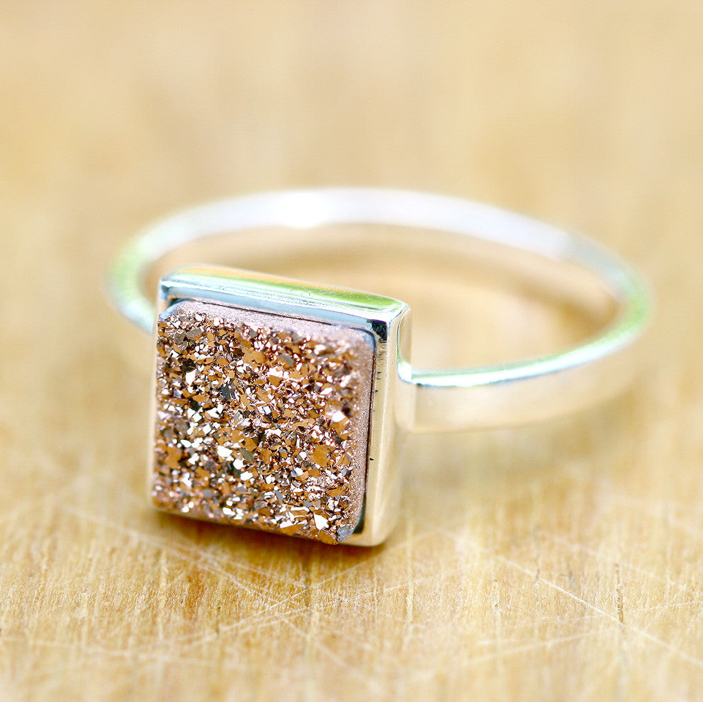 Rose Gold,Druzy Ring,Quartz Ring,Geode Ring,Cocktail Ring,Stone Ring,Girl Gift,drusy Ring,Silver Band,Sterling Silver,Silver Ring,quartz