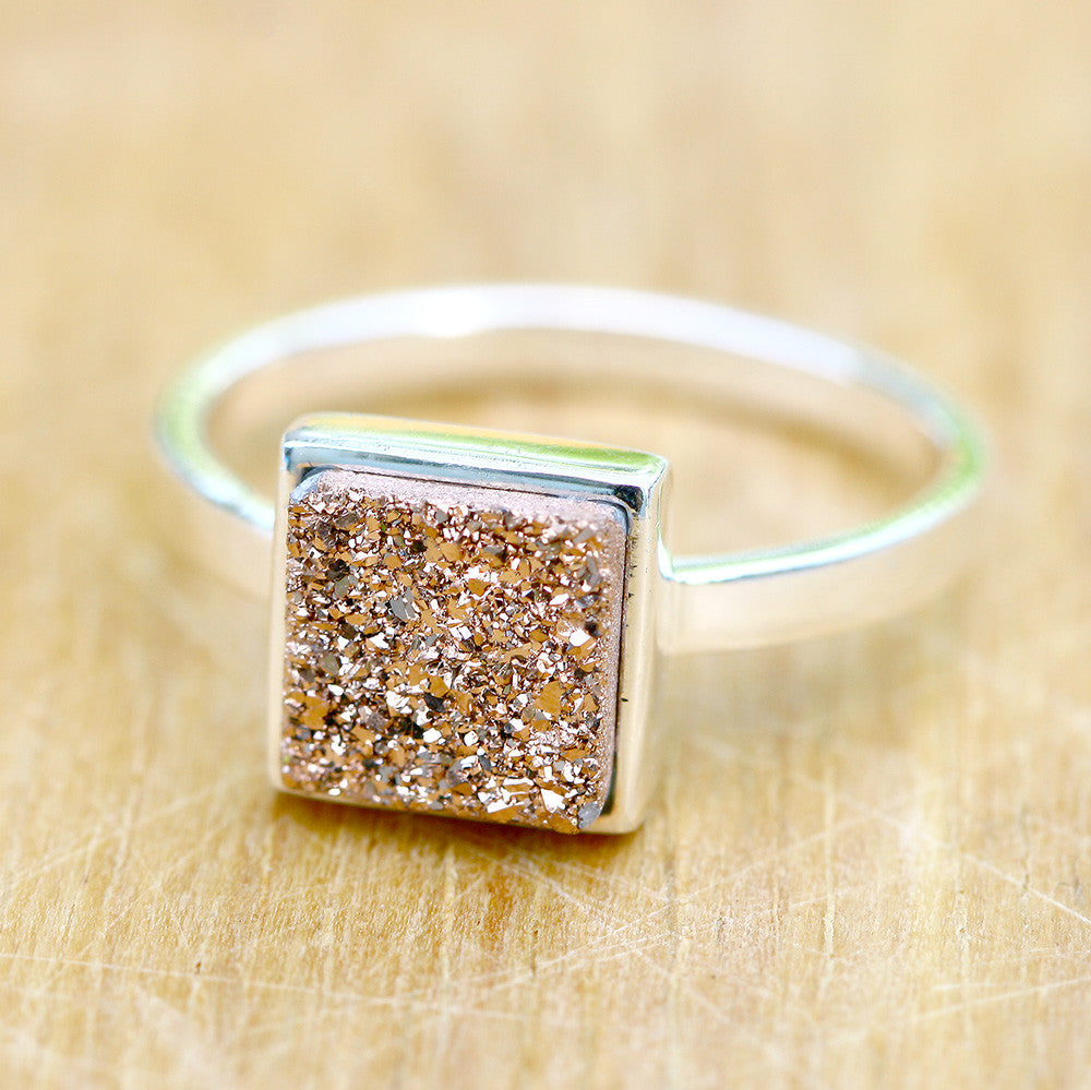 Gold Plated Statement Rings Band Rings For Gift Pink Two Stones Rings For Her Amazing Sugar Geode Druzy Rings