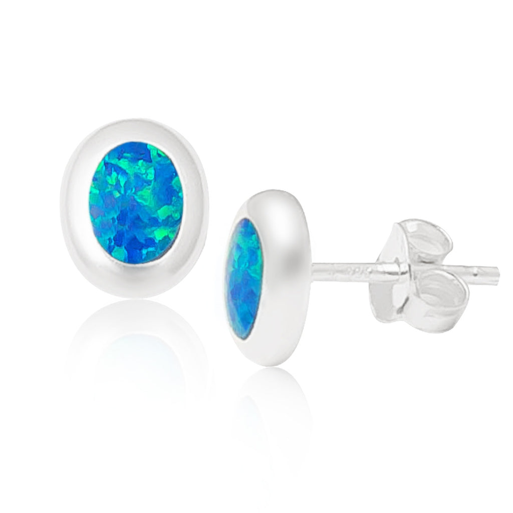 Sterling Silver Created Tiny White Oval Opal Stud 6X8 Mm Earrings