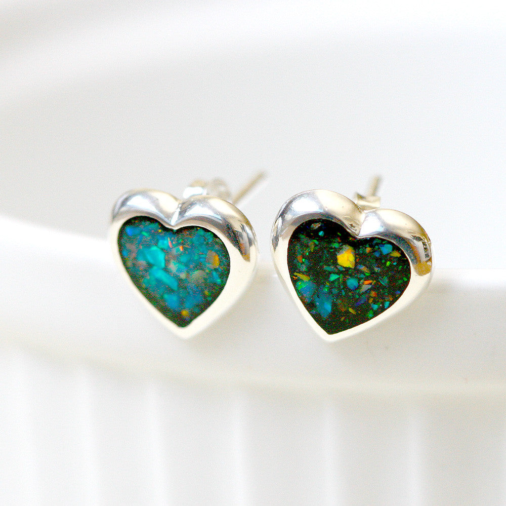 Heart Opal Earrings,Black Opal earring,Gemstone Earrings,Bridal Earrings,Opal Stud,Stone earrings,birthday gift,anniversary gift,bridal earrings