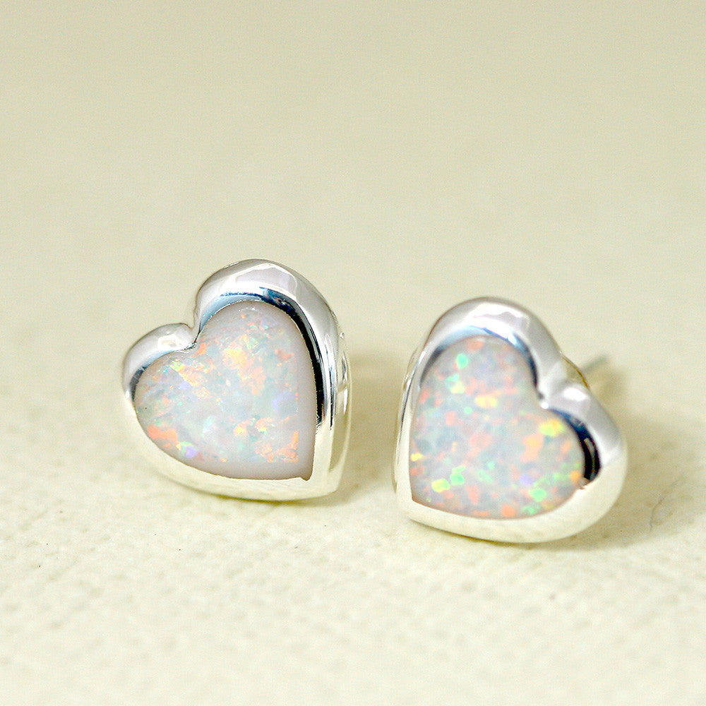White Heart Opal Earrings,Opal drop earring,Gemstone Earrings,Bridal Earrings,Opal Stud,Stone earrings,birthday gift,anniversary gift,bridal earrings