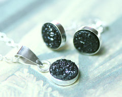 Black druzy set, jewerly set,Bridal jewelry,Bridesmaid earrings,Wedding earrings,Druzy Earrings,Druzy stud,Swarovski Earrings,Silver Stud