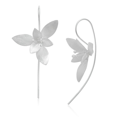 Sterling Silver 925 Flower Matte Finishing with Pearl Stud Earrings