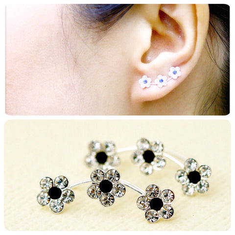 Black,Flowers cuff earring,crystal earrings,Ear cuff with Cubic Zirconia Gemstone ,Ear Climber,Wedding earrings,Bride earings ,Graduation gift