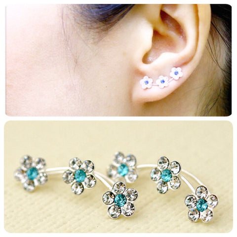Blue,Flowers cuff earring,crystal earrings,Ear cuff with Cubic Zirconia Gemstone ,Ear Climber,Wedding earrings,Bride earings ,Graduation gift