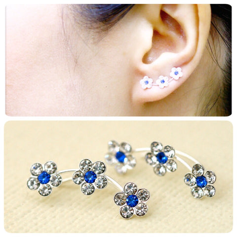 Deep Blue,Flowers cuff earring,crystal earrings,Ear cuff with Cubic Zirconia Gemstone ,Ear Climber,Wedding earrings,Bride earings ,Graduation gift