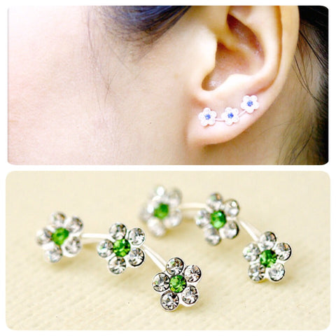 Green Flowers cuff earring,crystal earrings,Ear cuff with Cubic Zirconia Gemstone ,Ear Climber,Wedding earrings,Bride earings ,Graduation gift