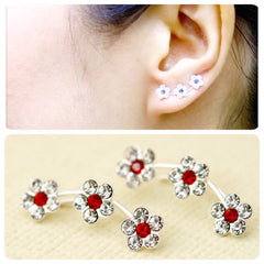 Red Flowers cuff earring,crystal earrings,Ear cuff with Cubic Zirconia Gemstone ,Ear Climber,Wedding earrings,Bride earings ,Graduation gift
