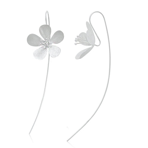 Sterling Silver 925 Cosmea Floral Bloom Matte Finishing Dangle Flower Earrings
