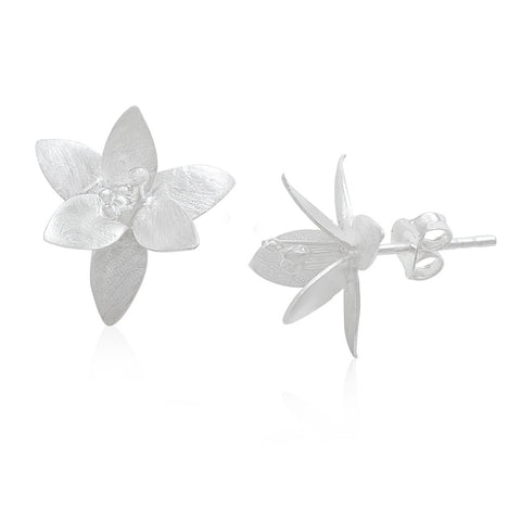 HWSTAR Women's Sterling Silver 925 Flower matte Stud Earrings