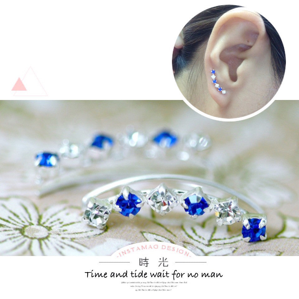 Blue Crystal cuff earring,crystal earrings,Ear cuff with Cubic Zirconia Gemstone ,Ear Climber,Wedding earring,Bride earring,Graduation gift