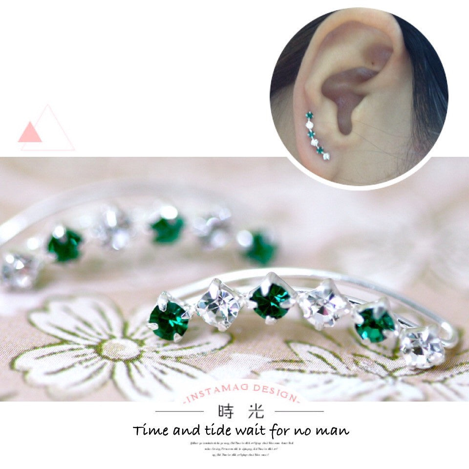 Green Crystal cuff earring,crystal earrings,Ear cuff with Cubic Zirconia Gemstone ,Ear Climber,Wedding earring,Bride earring,Graduation gift