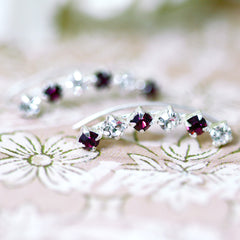 Purple Crystal cuff earring,crystal earrings,Ear cuff with Cubic Zirconia Gemstone ,Ear Climber,Wedding earring,Bride earring,Graduation gift