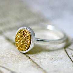 Gold Druzy ring,Geode ring,Gemstone ring,Quartz ring,sterling ring,silver band,simple ring,agate silver,Stacking Ring,Gifts idea