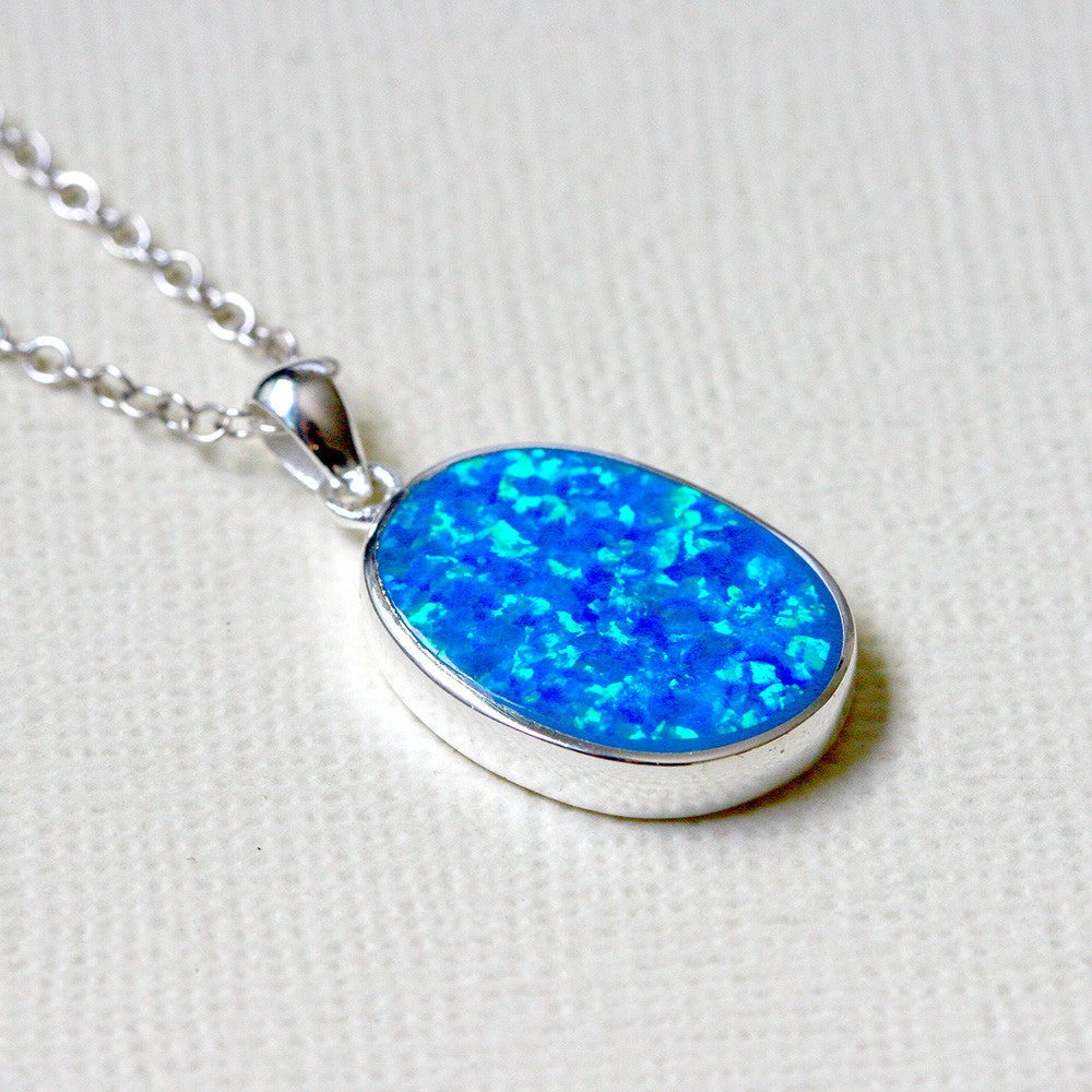 blue in silver sterling necklace light lot moon charms necklaces fire pendant opal item from