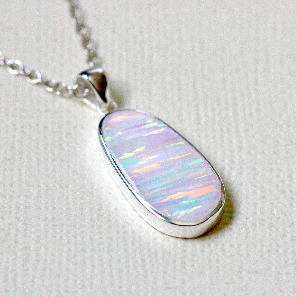 White Opal Necklace Opal Pendant Geode Necklace Gemstone