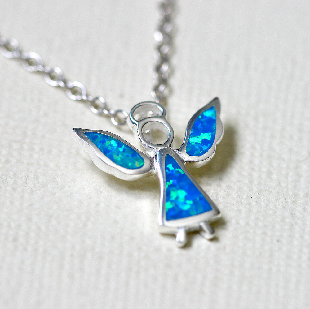 necklace pendant necklaces moon charms item lot from sterling blue silver fire opal in light