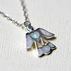 Guardian angle pendant,Opal Necklace,Opal Pendant,Geode Necklace,Gemstone Necklace,Stone Necklace,Birthstone,October,Opal jewelry,Agate Necklace,Lucky charm
