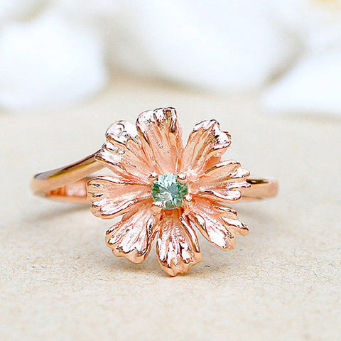 Green Sapphire Ring,Rose gold ring,Stone Ring,Agate ring,Gemstone Ring,Rose gold,delicate,dainty,Flower,Gifts,silver,jewelry,sapphire,stone,agate