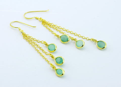 Emerald Drop Earrings,Silver 925 Earrings,Gold Earrings,Boho earrings