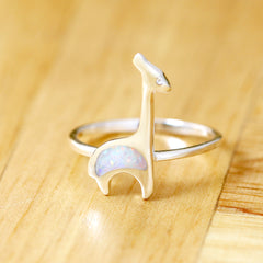 White Giraffe Ring,Opal Ring,Geode ring,October,Birthstone,gemstone ring,Agate ring,delicate ring,stone,agate,silver,opal,dainty,animal,lucky,freedom