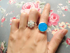 White opal Ring,Statement ring,Opal Ring,Geode ring,October Birthstone,Birthstone Ring,gemstone ring,Agate ring,Mother Ring