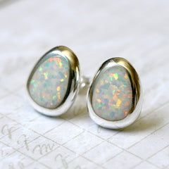 White opal earrings, Pear Opal Earrings,Geode Earrings,Gemstone Earrings,Stud Earrings,Graduation gifts,Opal Stud,Stone earrings,Stone stud,opal,silver