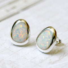 Pear Opal Earrings,Geode Earrings,Gemstone Earrings,Stud Earrings,Graduation gifts,Opal Stud,Stone earrings,Stone stud,opal,silver