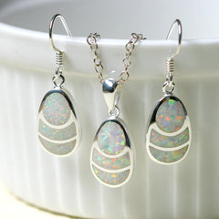Blue Opal Jewelry Set,Opal Earrings,Drop earrings,Opal jewelry set,Opal Necklace,Bridesmaid Earrings,Opal jewelry,Anniversary gifts,Birthday gifts,birthstone