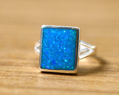 Blue Square Ring,Statement ring,Opal Ring,Geode ring,October Birthstone,Birthstone Ring,gemstone ring,Agate ring,Mother Ring