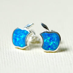 Blue,Opal Earrings,Geode Earrings,Gemstone Earrings,Stud Earrings,Apple Earrings,Opal Stud,Tiny Stud,Stone earrings,opal,silver,apple