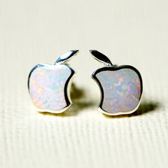 White,Opal Earrings,Geode Earrings,Gemstone Earrings,Stud Earrings,Apple Earrings,Opal Stud,Tiny Stud,Stone earrings,opal,silver,apple