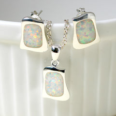 White Opal Jewelry Set,Opal Earrings,Opal Necklace,Gemstone Earrings,Gemstone Necklace,Stud Earrings,Silver Earrings,Opal Stud,Stone earrings,Stone stud,opal,silver necklace