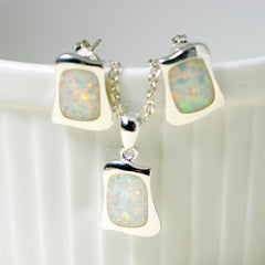 Blue Opal Jewelry Set,Opal Earrings,Opal Necklace,Gemstone Earrings,Gemstone Necklace,Stud Earrings,Silver Earrings,Opal Stud,Stone earrings,Stone stud,opal,silver necklace