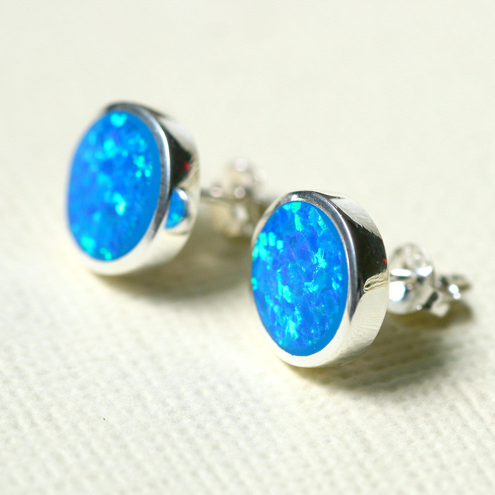 Blue Opal Earrings,Geode Earrings,Gemstone Earrings,Stud Earrings,925 Sterling Silver,Opal Stud,Tiny Stud,opal stud