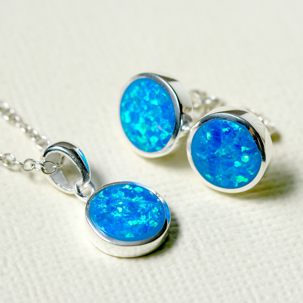 Blue Opal Set,Jewelry set,Opal Earrings,Opal necklace,Opal Pendant,Geode Earrings,Gemstone Earrings,Stud Earrings,925 Sterling Silver,Opal Stud,Tiny Stud,opal stud
