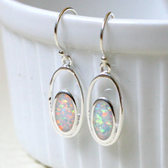 White Opal Earrings,Drop earrings,Geode Earrings,Gemstone Earrings,Bridesmaid Earrings,Opal jewelry,Anniversary gifts,Birthday gifts,birthstone