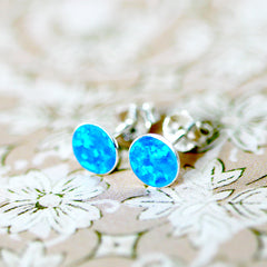 Tiny Blue Opal Earrings,Stud Earrings,925 Silver