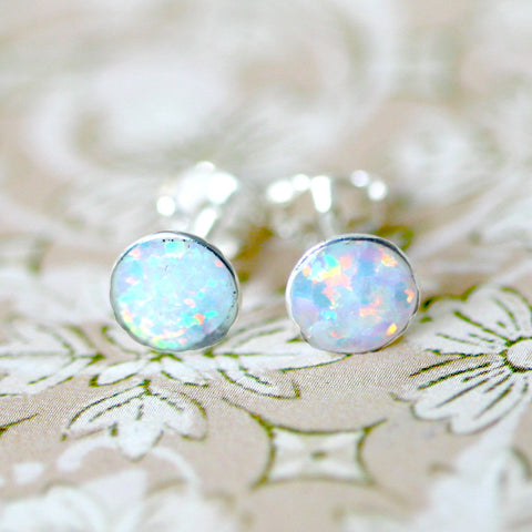 Tiny White Opal Earrings,Opal Stud Earrings,925 Sterling Silver